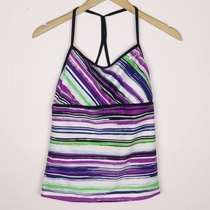 Nike Active Racerback Swim Striped Tankini Top